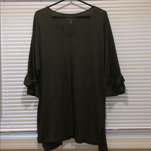 Olive green Vneck top
